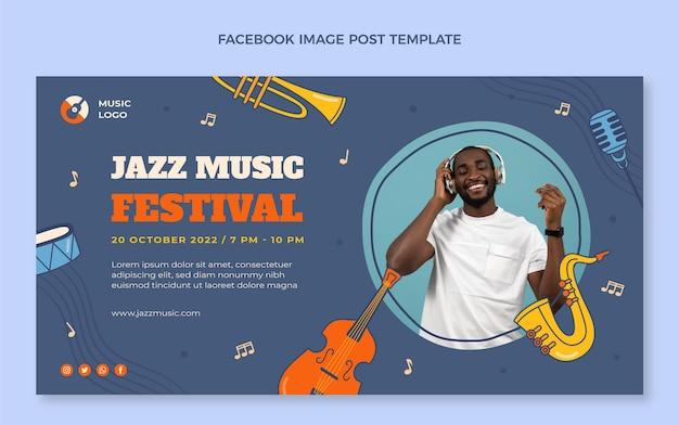 Dibujado a mano colorido festival de música publicación de facebook