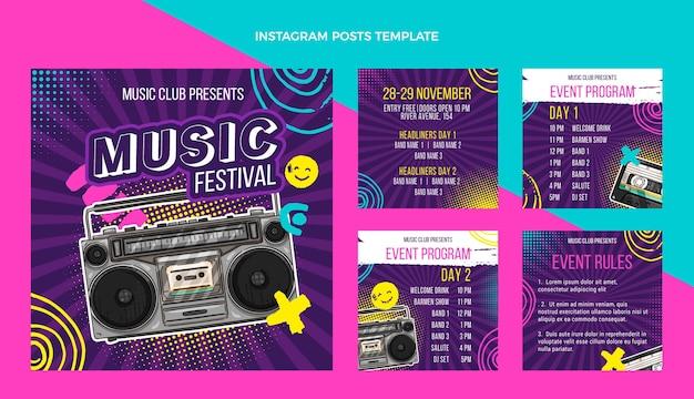 Dibujado a mano colorido festival de música publicación de instagram