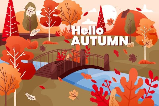 Dibujado a mano colorido fondo de otoño