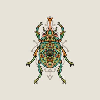 Dibujado a mano colorido mandala bug ilustración
