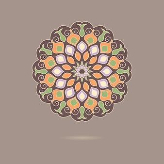 Dibujado a mano colorido mandala floral.