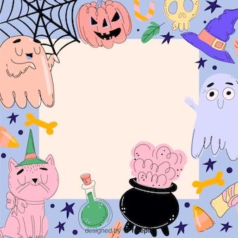Dibujado a mano colorido marco de halloween