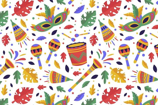 Dibujado a mano colorido patrón de carnaval brasileño