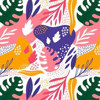 Dibujado a mano colorido patrón de hojas abstractas