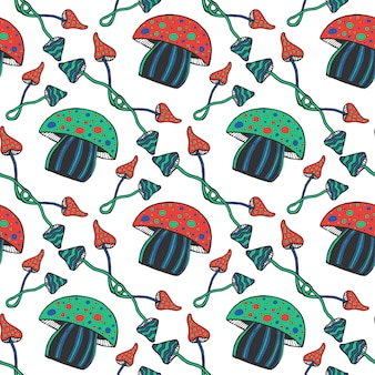 Dibujado a mano coloridos hongos psicodélicos de patrones sin fisuras. doodle fondo de vector mágico con hongo venenoso
