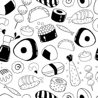 Dibujado a mano comida japonesa de patrones sin fisuras