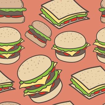 Dibujado a mano comida rápida y patrón de hamburguesas