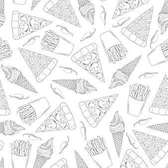 Dibujado a mano de comida rápida de patrones sin fisuras. pizza, papas fritas y helado.