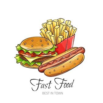 Dibujado a mano de comida rápida.