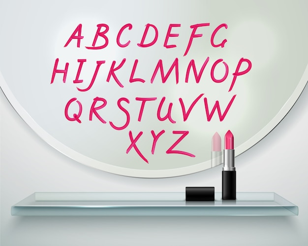 Dibujado a mano en la composición realista de las letras del alfabeto del lápiz labial rojo del espejo redondo