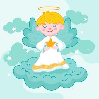 Dibujado a mano concepto de ángel de navidad