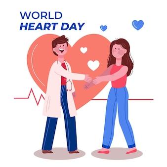 Dibujado a mano concepto del día mundial del corazón