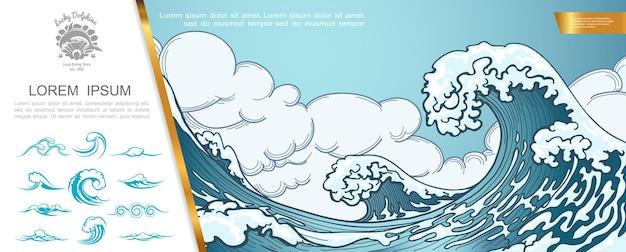 Dibujado a mano concepto marino con gran tormenta de mar y olas de tsunami ilustración,