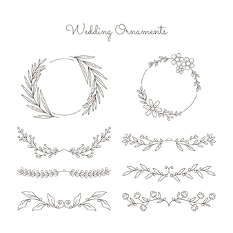 Dibujado a mano conjunto de adornos de boda