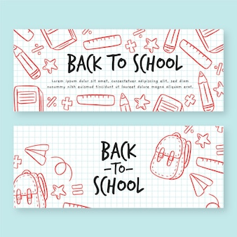 Dibujado a mano conjunto de banners de regreso a la escuela