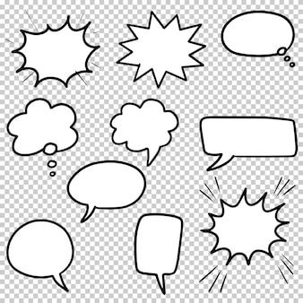 Dibujado a mano conjunto de burbujas de discurso aisladas. elemento de conjunto de doodle. ilustración vectorial.