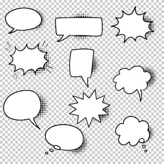 Dibujado a mano conjunto de burbujas de discurso aisladas con sombras de semitono negras sobre fondo transparente. elemento de conjunto de doodle. ilustración vectorial.
