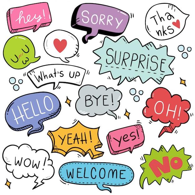 Dibujado a mano conjunto de burbujas de discurso lindo con texto en estilo doodle