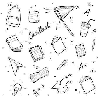 Dibujado a mano conjunto de colegio, elemento de estudio escolar e ilustración de buenas calificaciones.