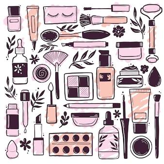 Dibujado a mano conjunto de elementos cosméticos de belleza de maquillaje