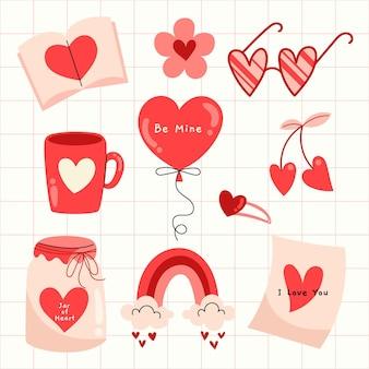 Dibujado a mano conjunto de elementos ilustrados del día de san valentín