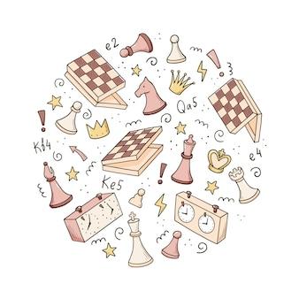 Dibujado a mano conjunto de elementos de juego de ajedrez de dibujos animados