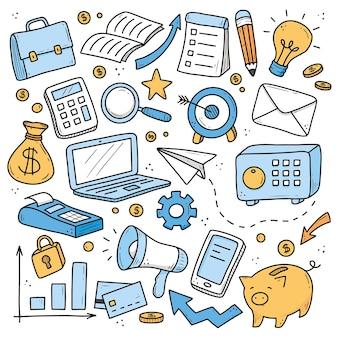 Dibujado a mano conjunto de elementos de negocios y finanzas, moneda, calculadora, alcancía, dinero.