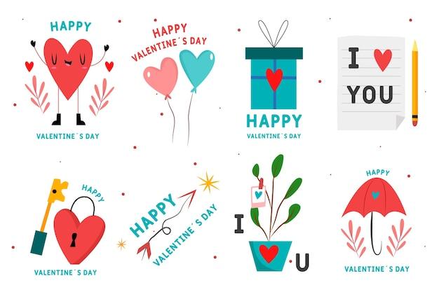 Dibujado a mano conjunto de etiquetas de san valentín