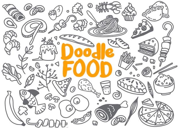 Dibujado a mano conjunto de garabatos de ingrediente de alimentos con letras en vector