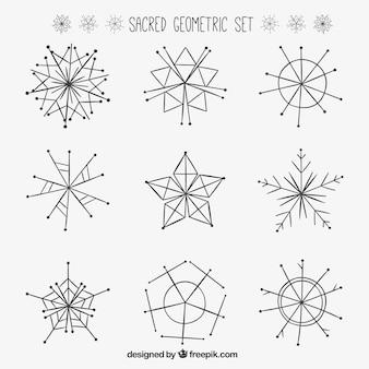 Dibujado a mano un conjunto geométrico sagrado