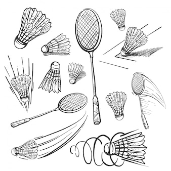 Dibujado a mano conjunto de iconos de bádminton