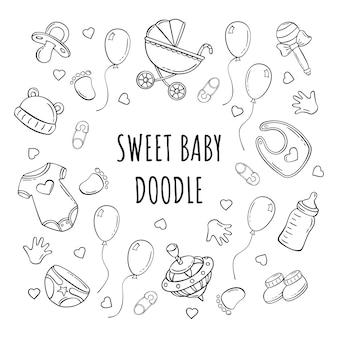 Dibujado a mano conjunto de iconos de elementos de bebé en estilo doodle