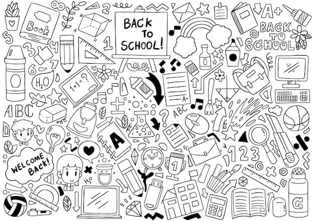 Dibujado a mano conjunto de iconos de la escuela adornos patrón de fondo