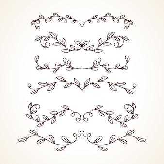 Dibujado a mano conjunto de marcos decorativos bordes elementos de decoración de página