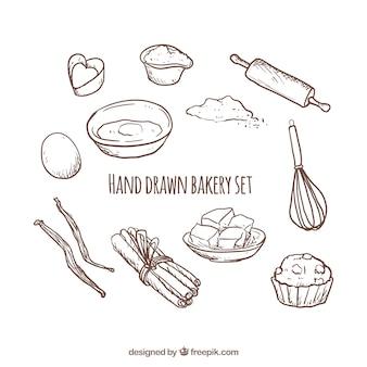 Dibujado a mano conjunto de panadería