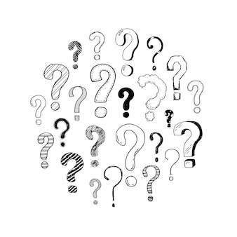 Dibujado a mano conjunto de signos de interrogación de doodle. ilustración de vector de su icono, fondo, diseño de papel tapiz. el interrogatorio de estilo de dibujo de dibujos animados hace preguntas dibujadas con bolígrafo y marcador.