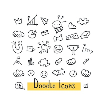 Dibujado a mano conjunto transparente de patrón de doodle con símbolos de negocios