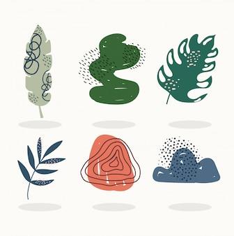 Dibujado a mano contemporáneo, deja el collage de impresión de moda de color directo