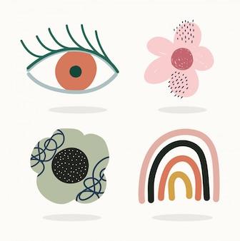 Dibujado a mano contemporáneo, flores de ojos de moda collage de color de impresión
