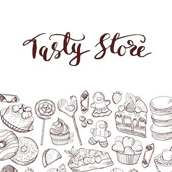 Dibujado a mano contorneado tienda de dulces o banner de confitería