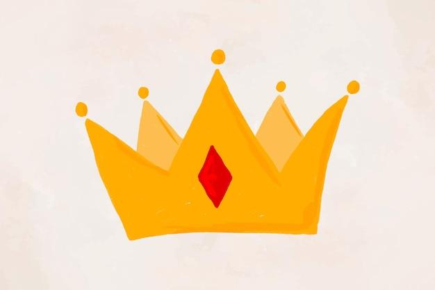 Dibujado a mano corona elemento vector lindo pegatina