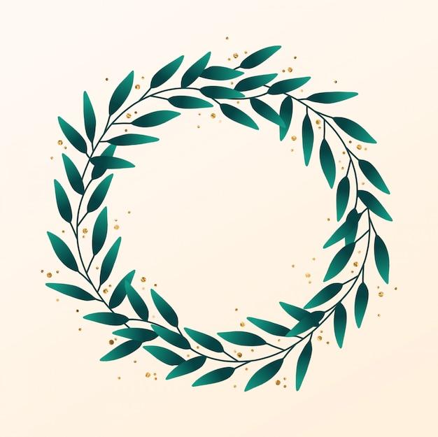 Dibujado a mano corona de hojas con acento de oro