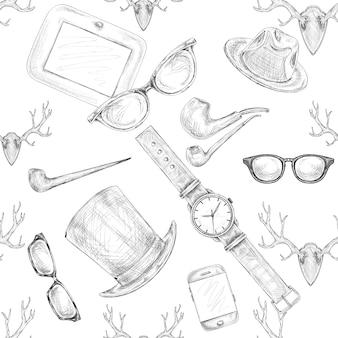 Dibujado a mano sin costura patrón de accesorios hipster