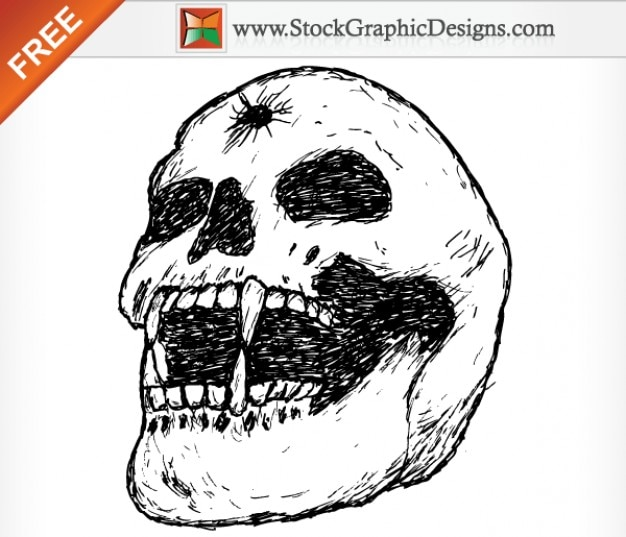 Dibujo de cráneo roto