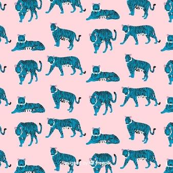 Dibujado a mano creativa patrón de tigre