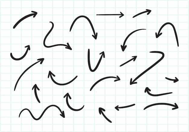 Dibujado a mano creativo diseño de conjunto de flechas
