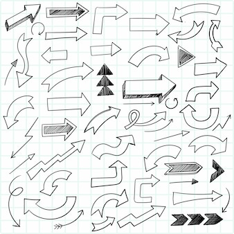 Dibujado a mano creativo doodle flecha set sketch