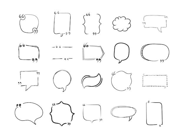 Dibujado a mano de cuadros de citas de doodle, burbujas de discurso aisladas sobre fondo blanco. cita, comas, mensaje. plantillas para diseño, banners, sitios web. plantilla para tu texto.