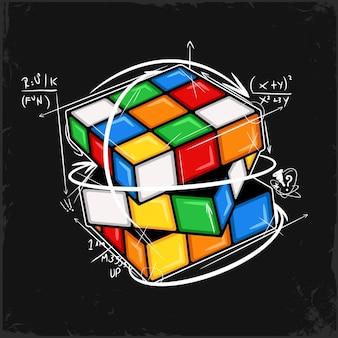 Dibujado a mano cubo de rubiks sin resolver en colores sólidos con ecuaciones matemáticas y flechas