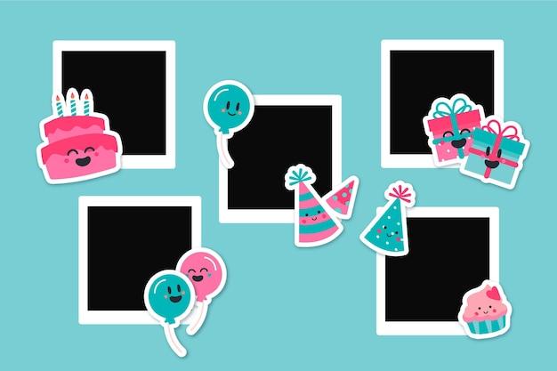 Dibujado a mano cumpleaños collage marco negro copia espacio